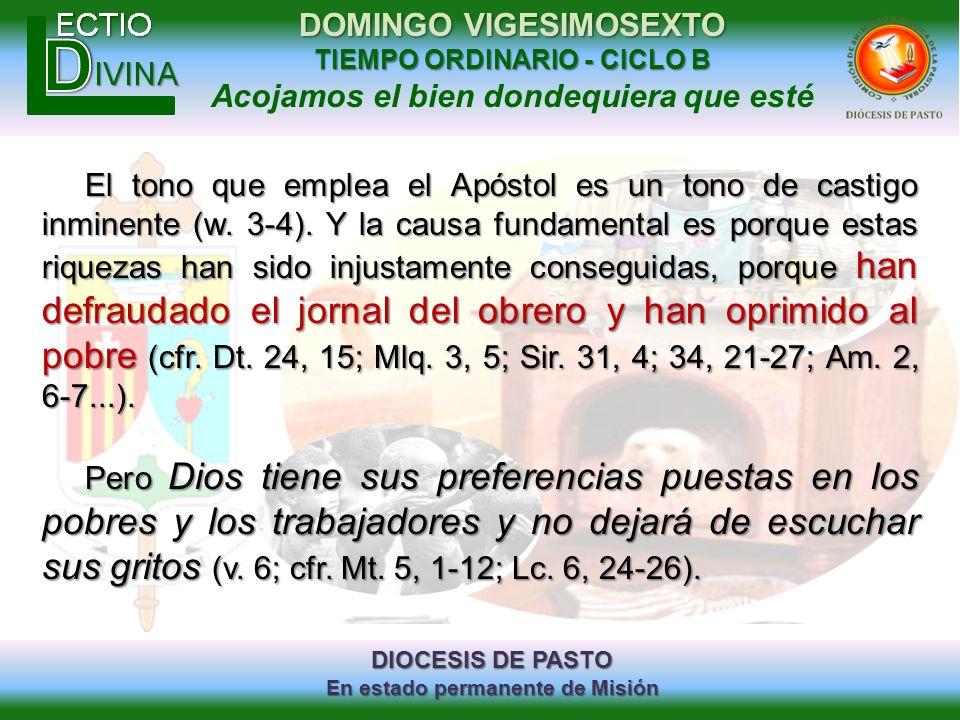 DIOCESIS DE PASTO En estado permanente de Misión DOMINGO VIGESIMOSEXTO TIEMPO ORDINARIO - CICLO B Acojamos el bien dondequiera que esté El tono que em
