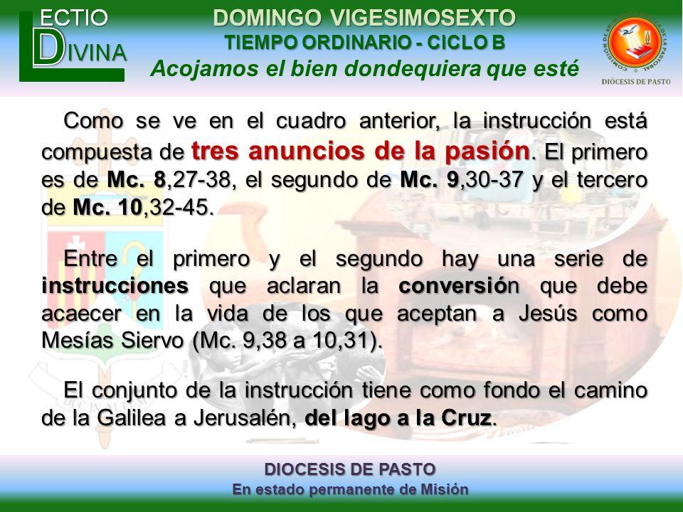 DIOCESIS DE PASTO En estado permanente de Misión DOMINGO VIGESIMOSEXTO TIEMPO ORDINARIO - CICLO B Acojamos el bien dondequiera que esté Como se ve en