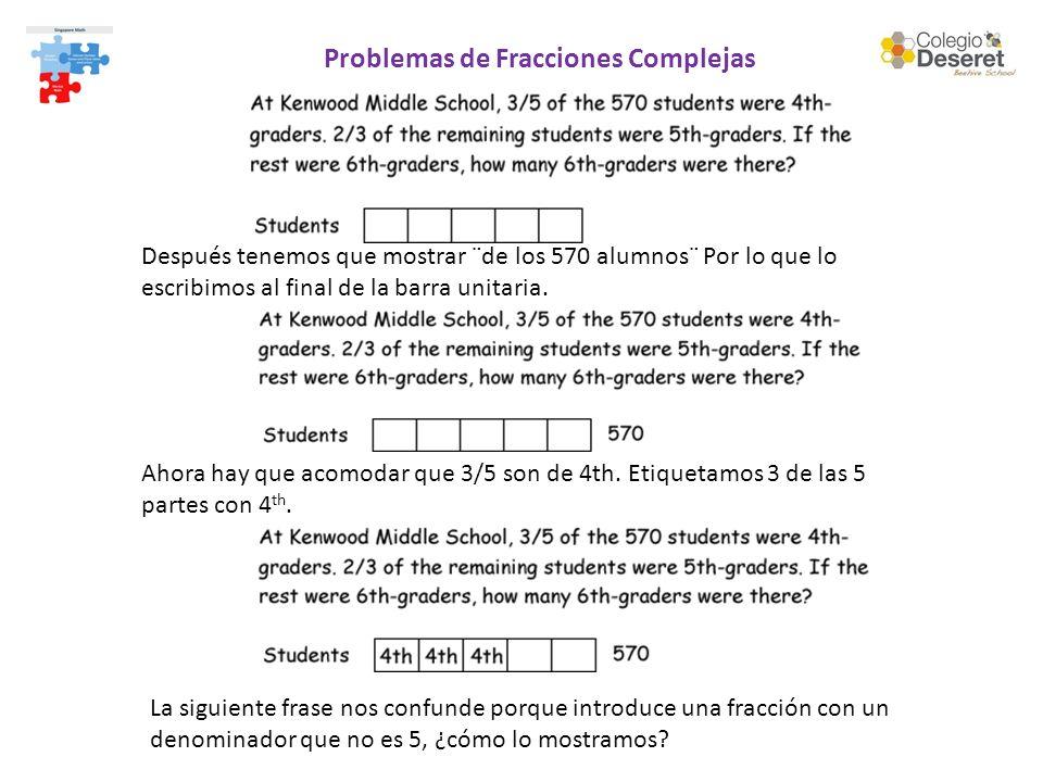 Problemas de Fracciones Complejas Después tenemos que mostrar ¨de los 570 alumnos¨ Por lo que lo escribimos al final de la barra unitaria. La siguient