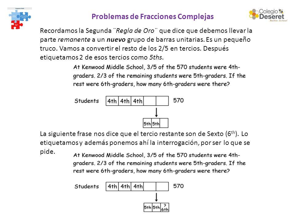 Problemas de Fracciones Complejas Recordamos la Segunda ¨Regla de Oro¨ que dice que debemos llevar la parte remanente a un nuevo grupo de barras unita