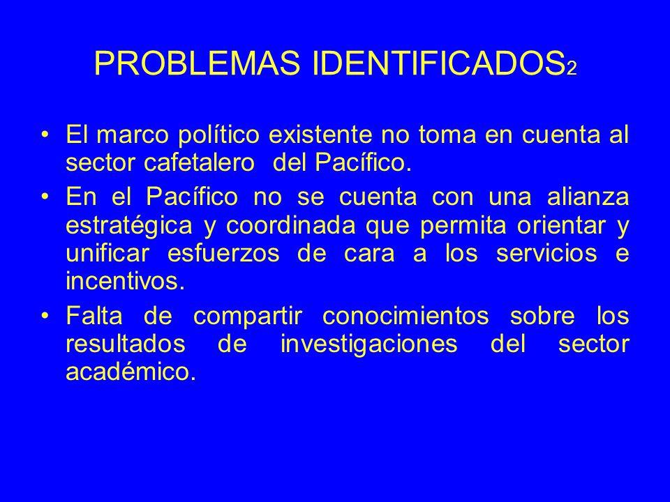 PROBLEMAS IDENTIFICADOS 2 El marco político existente no toma en cuenta al sector cafetalero del Pacífico. En el Pacífico no se cuenta con una alianza