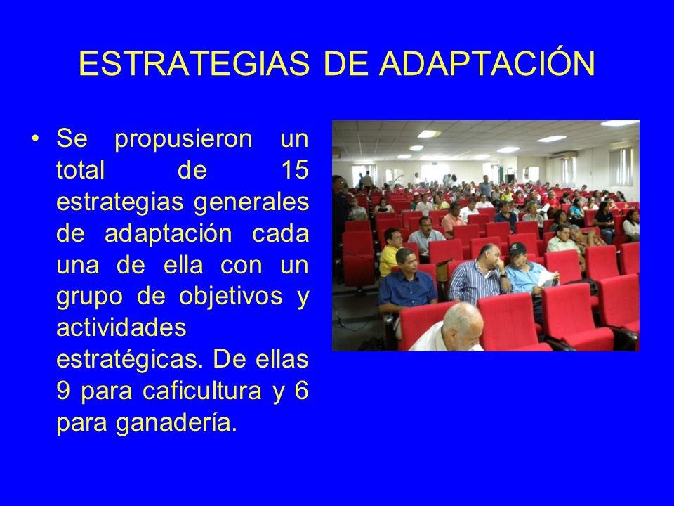 ESTRATEGIAS DE ADAPTACIÓN Se propusieron un total de 15 estrategias generales de adaptación cada una de ella con un grupo de objetivos y actividades estratégicas.