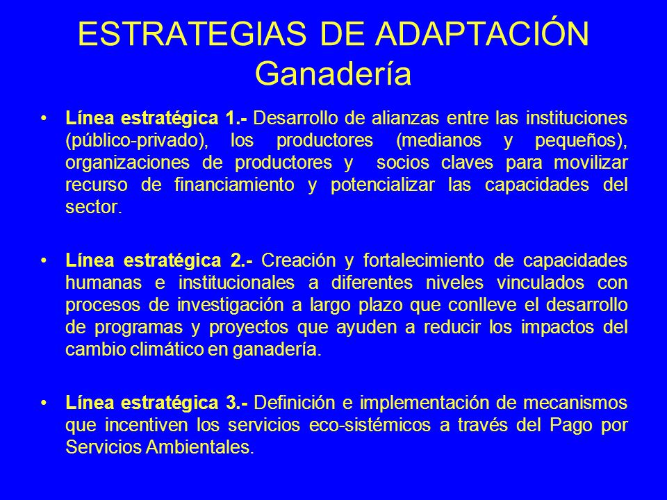 ESTRATEGIAS DE ADAPTACIÓN Ganadería Línea estratégica 1.- Desarrollo de alianzas entre las instituciones (público-privado), los productores (medianos