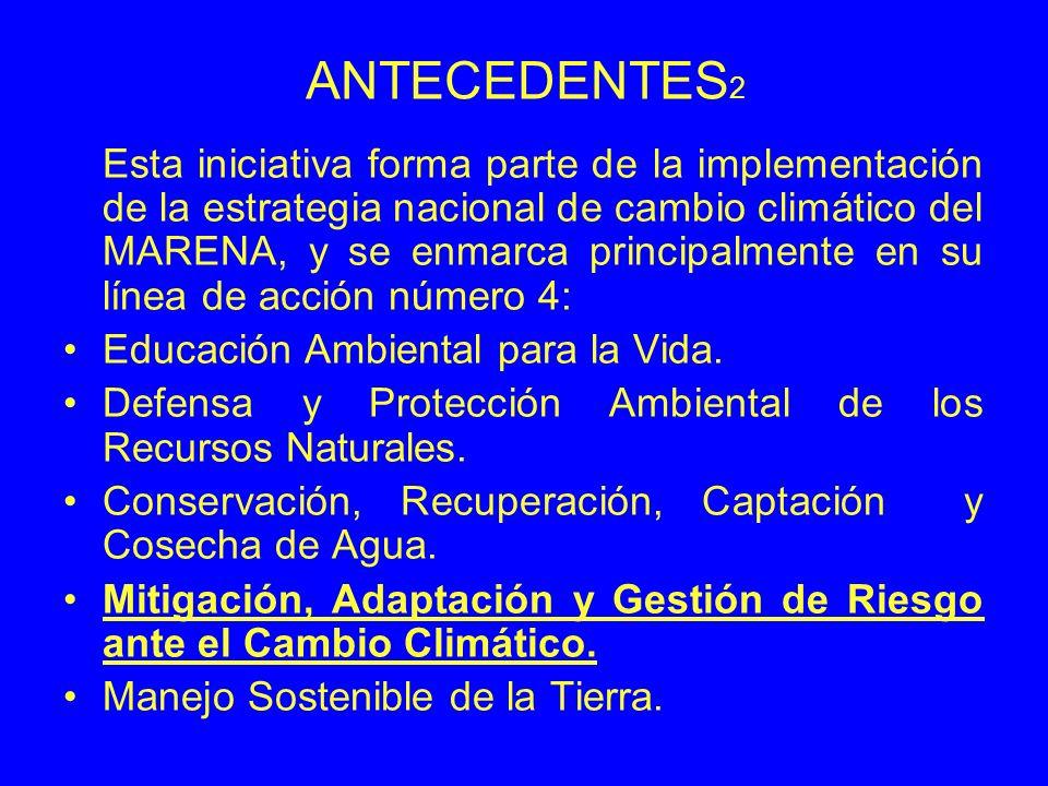ANTECEDENTES 2 Esta iniciativa forma parte de la implementación de la estrategia nacional de cambio climático del MARENA, y se enmarca principalmente