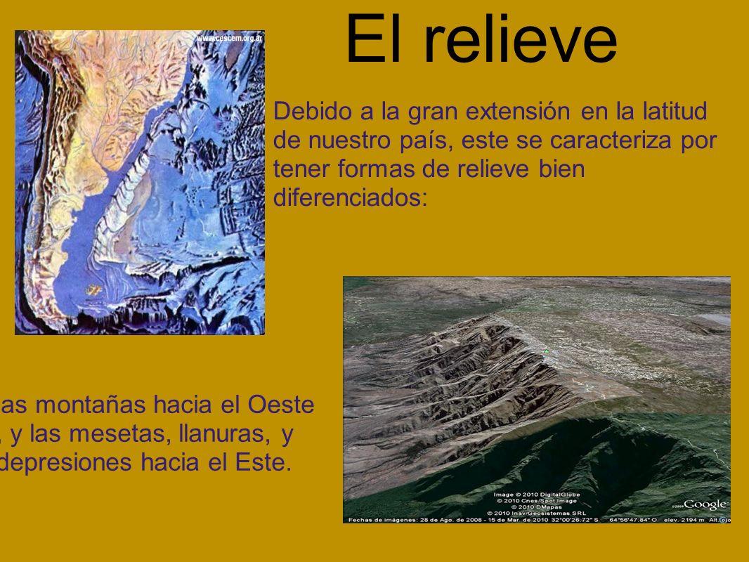 El relieve Debido a la gran extensión en la latitud de nuestro país, este se caracteriza por tener formas de relieve bien diferenciados: las montañas hacia el Oeste, y las mesetas, llanuras, y depresiones hacia el Este.