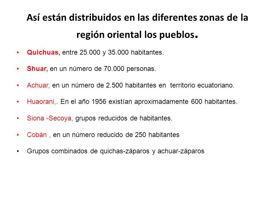 Así están distribuidos en las diferentes zonas de la región oriental los pueblos. Quichuas, entre 25.000 y 35.000 habitantes. Shuar, en un número de 7