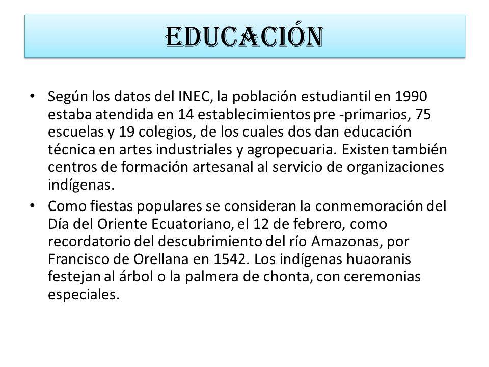 EDUCACIÓN Según los datos del INEC, la población estudiantil en 1990 estaba atendida en 14 establecimientos pre -primarios, 75 escuelas y 19 colegios,