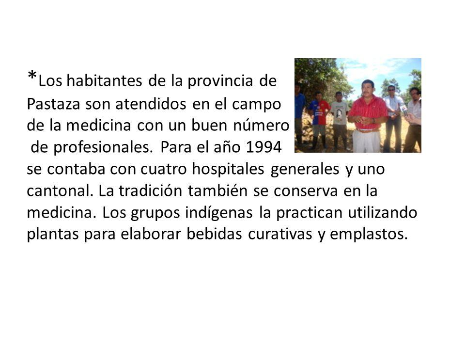 * Los habitantes de la provincia de Pastaza son atendidos en el campo de la medicina con un buen número de profesionales. Para el año 1994 se contaba