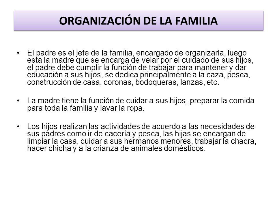 ORGANIZACIÓN DE LA FAMILIA El padre es el jefe de la familia, encargado de organizarla, luego esta la madre que se encarga de velar por el cuidado de