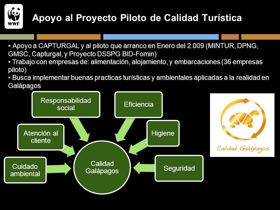 Apoyo al Proyecto Piloto de Calidad Turística Calidad Galápagos Cuidado ambiental Atención al cliente Responsabilidad social EficienciaHigieneSegurida