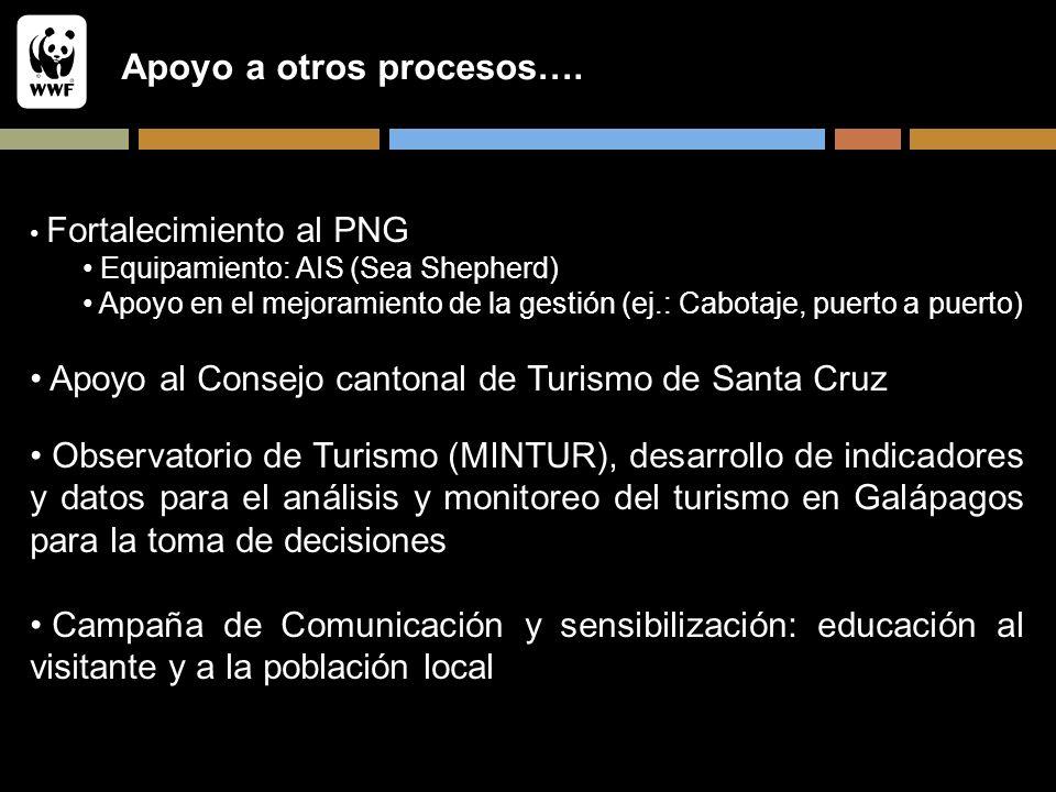 Apoyo a otros procesos…. Fortalecimiento al PNG Equipamiento: AIS (Sea Shepherd) Apoyo en el mejoramiento de la gestión (ej.: Cabotaje, puerto a puert