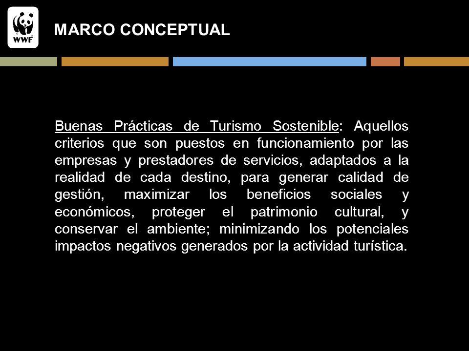 MARCO CONCEPTUAL Buenas Prácticas de Turismo Sostenible: Aquellos criterios que son puestos en funcionamiento por las empresas y prestadores de servic
