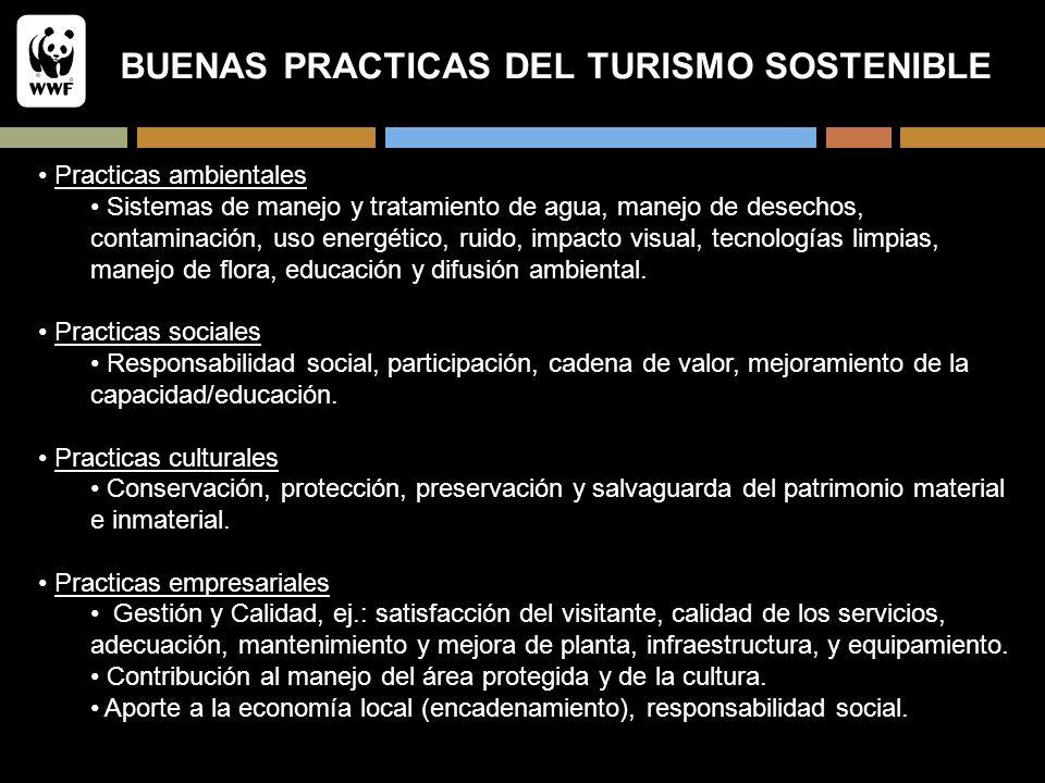 BUENAS PRACTICAS DEL TURISMO SOSTENIBLE Practicas ambientales Sistemas de manejo y tratamiento de agua, manejo de desechos, contaminación, uso energét