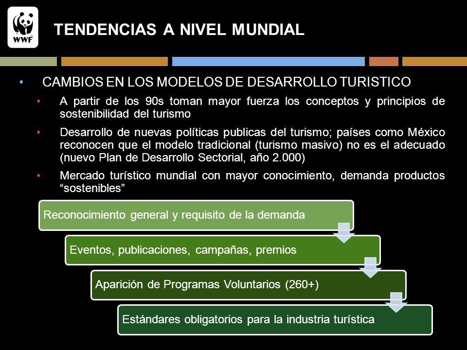 TENDENCIAS A NIVEL MUNDIAL CAMBIOS EN LOS MODELOS DE DESARROLLO TURISTICO A partir de los 90s toman mayor fuerza los conceptos y principios de sosteni