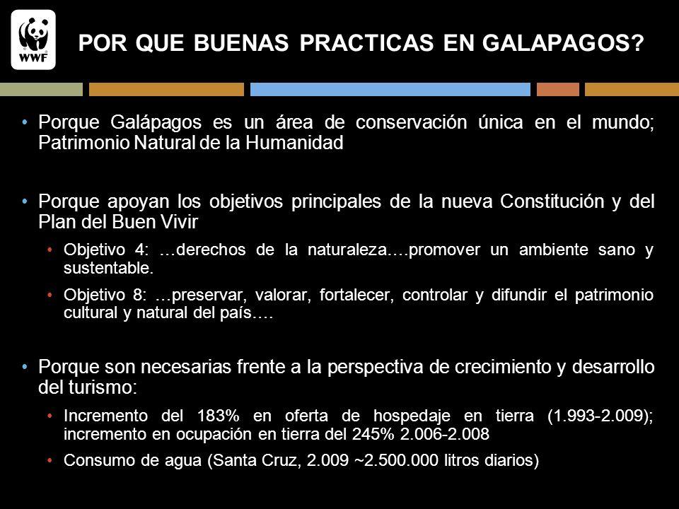 POR QUE BUENAS PRACTICAS EN GALAPAGOS? Porque Galápagos es un área de conservación única en el mundo; Patrimonio Natural de la Humanidad Porque apoyan