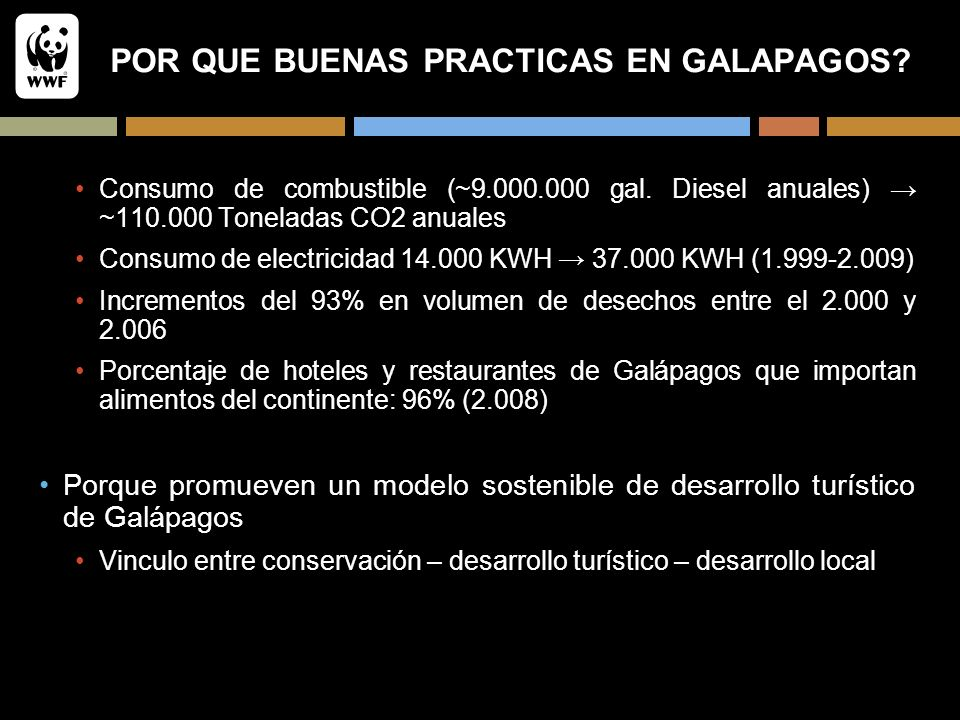 POR QUE BUENAS PRACTICAS EN GALAPAGOS? Consumo de combustible (~9.000.000 gal. Diesel anuales) ~110.000 Toneladas CO2 anuales Consumo de electricidad