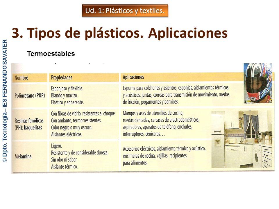 3. Tipos de plásticos. Aplicaciones Termoestables © Dpto. Tecnología – IES FERNANDO SAVATER - Cuando se les forma con calor o presión sufren un curado