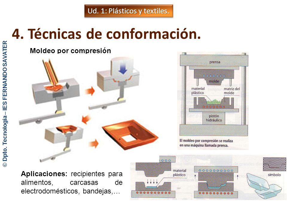 4. Técnicas de conformación. Moldeo por inyección Aplicaciones: juguetes, cubos, recipientes,… Ud. 1: Plásticos y textiles. © Dpto. Tecnología – IES F