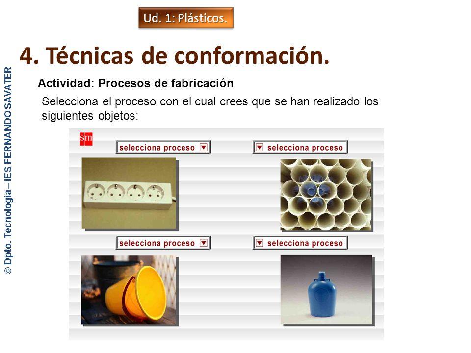 4. Técnicas de conformación. Moldeo por compresión Aplicaciones: recipientes para alimentos, carcasas de electrodomésticos, bandejas,… Ud. 1: Plástico