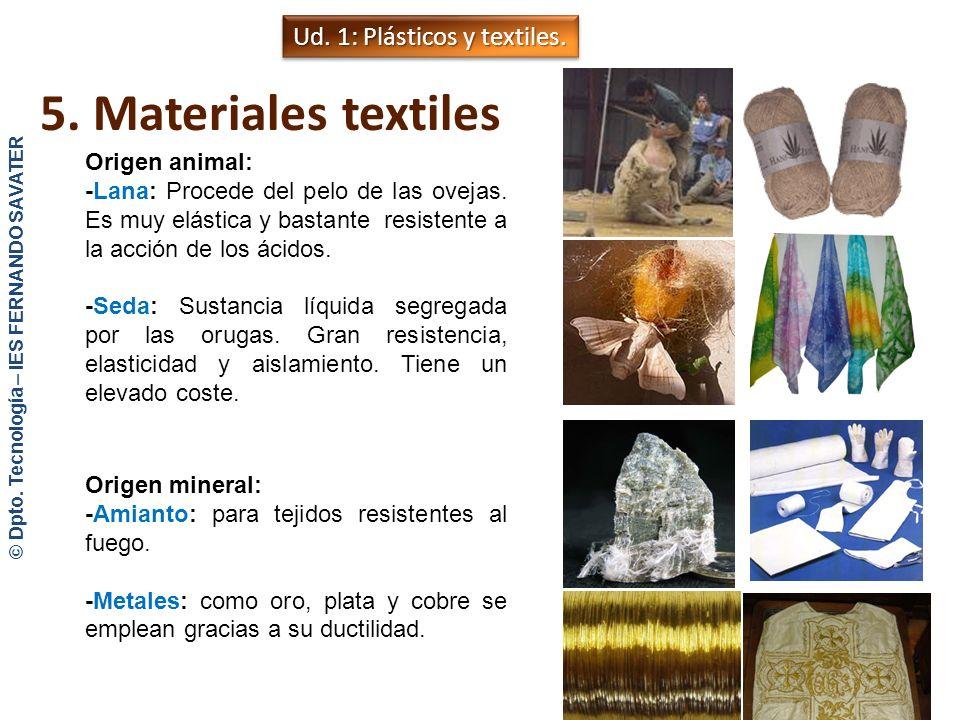 5. Materiales textiles Los materiales textiles son filamentos que se tiñen y see entrelanzan para formar paños o telas. Pueden ser: Fibras naturales: