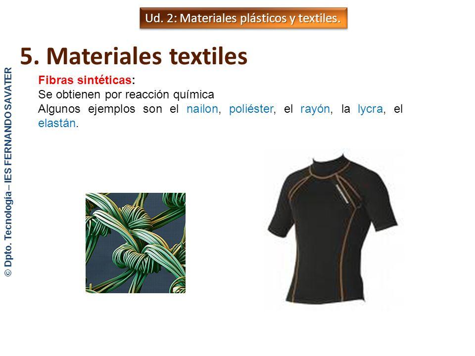 Ud. 1: Plásticos y textiles. 5. Materiales textiles Origen animal: -Lana: Procede del pelo de las ovejas. Es muy elástica y bastante resistente a la a