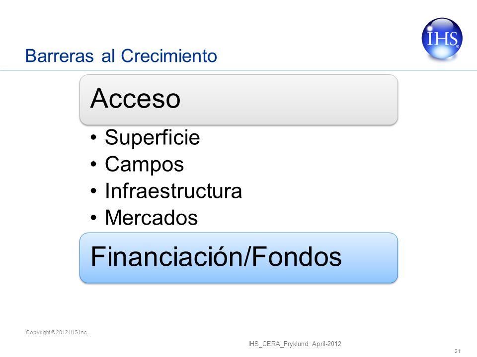 Copyright © 2012 IHS Inc. Barreras al Crecimiento IHS_CERA_Fryklund April-2012 21 Acceso Superficie Campos Infraestructura Mercados Financiación/Fondo