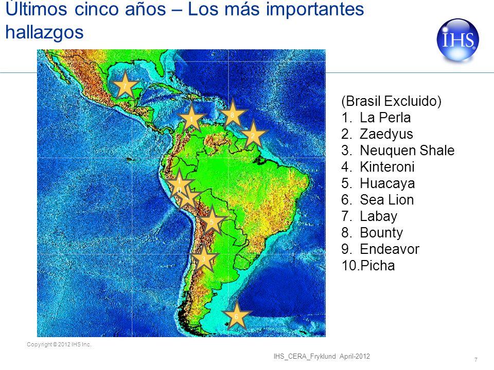 Copyright © 2012 IHS Inc. Últimos cinco años – Los más importantes hallazgos IHS_CERA_Fryklund April-2012 7 (Brasil Excluido) 1.La Perla 2.Zaedyus 3.N