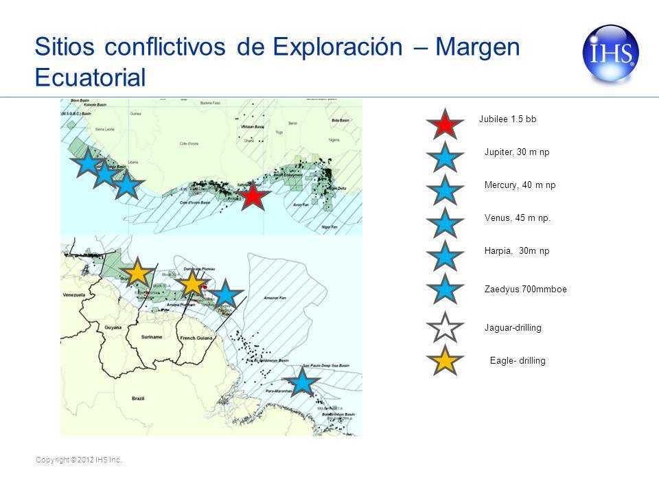 Copyright © 2012 IHS Inc. Sitios conflictivos de Exploración – Margen Ecuatorial Jubilee 1.5 bb Harpia, 30m np Zaedyus 700mmboe Jaguar-drilling Eagle-