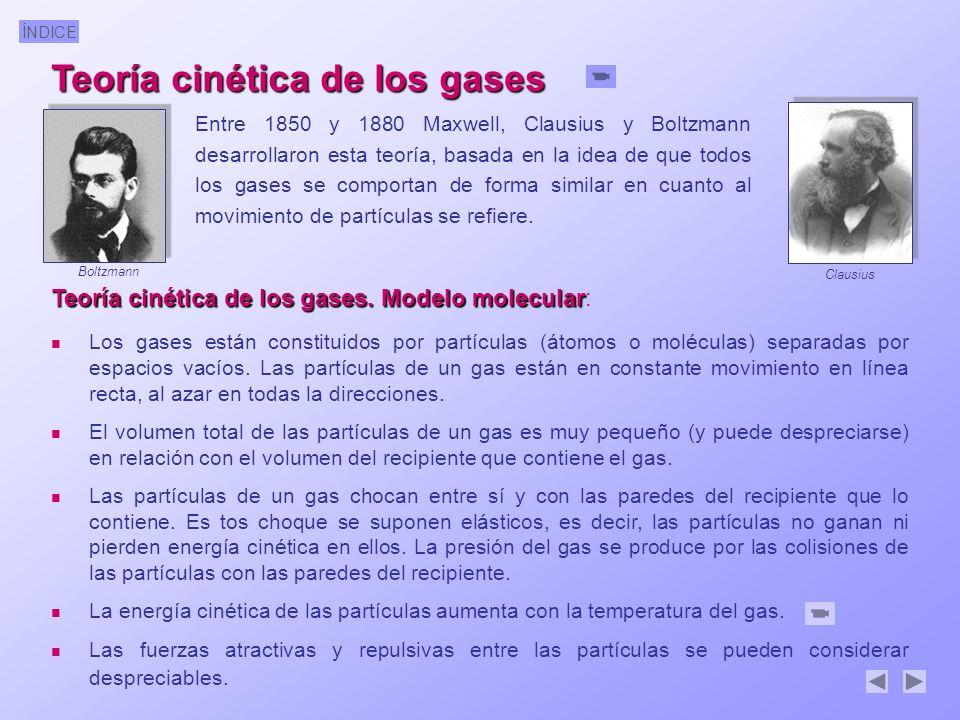 ÍNDICE Teoría cinética de los gases. Modelo molecular Teoría cinética de los gases. Modelo molecular: Los gases están constituidos por partículas (áto
