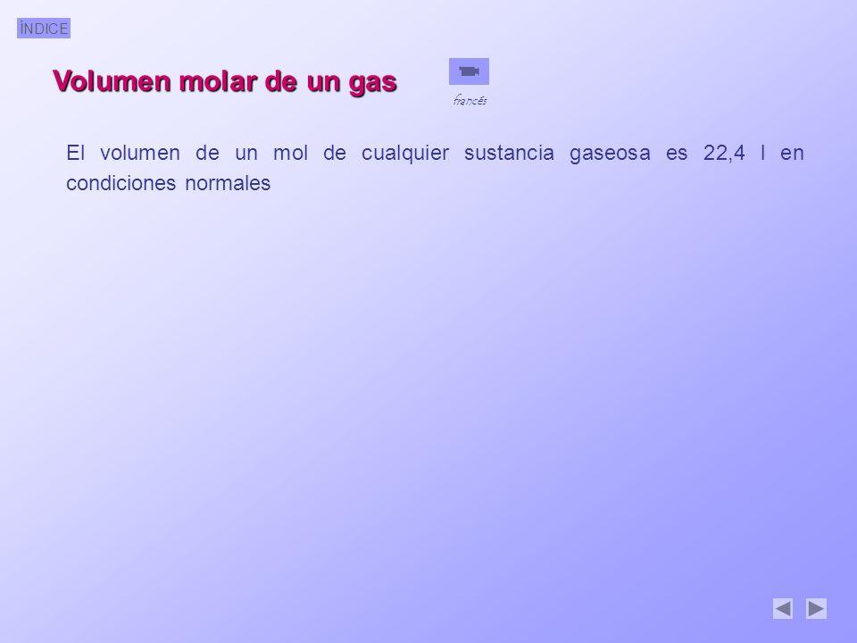 ÍNDICE Volumen molar de un gas El volumen de un mol de cualquier sustancia gaseosa es 22,4 l en condiciones normales francés