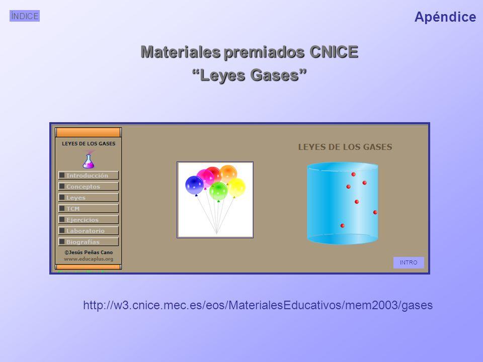 ÍNDICE http://w3.cnice.mec.es/eos/MaterialesEducativos/mem2003/gases Materiales premiados CNICE Leyes Gases INTRO Apéndice