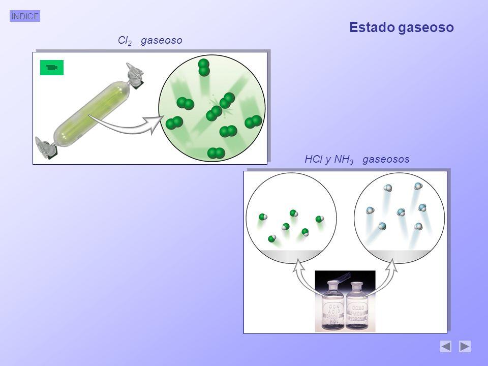 ÍNDICE Cl 2 gaseoso HCl y NH 3 gaseosos Estado gaseoso