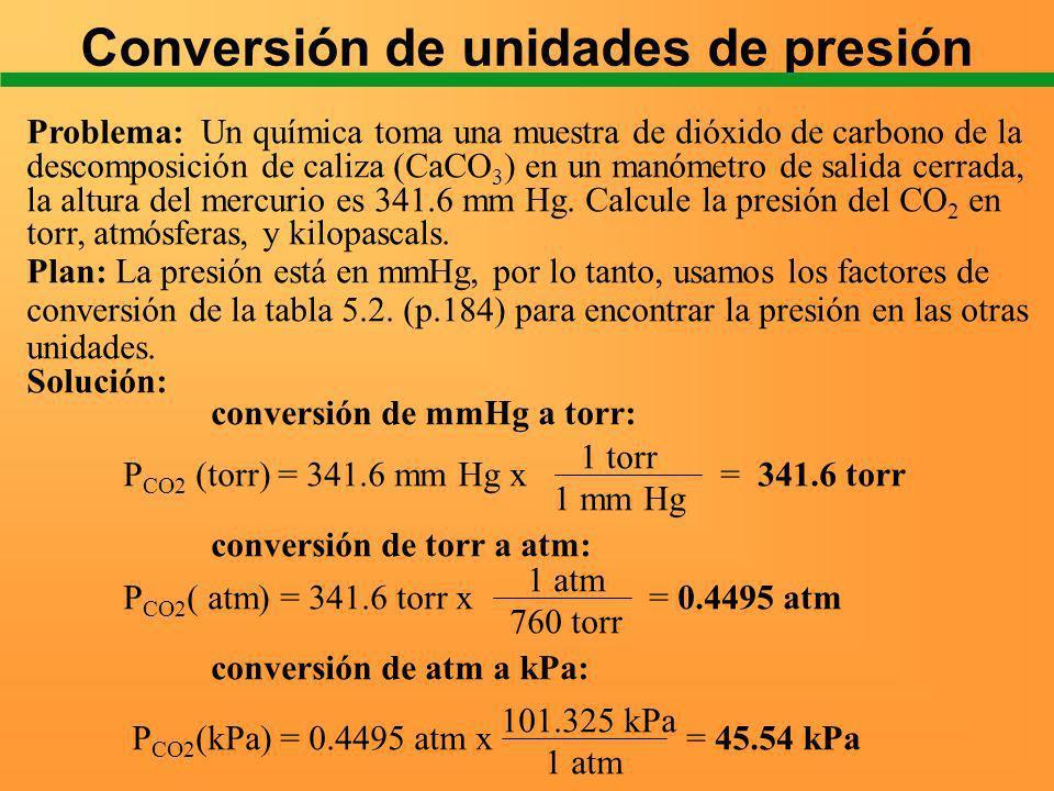 Conversión de unidades de presión Problema: Un química toma una muestra de dióxido de carbono de la descomposición de caliza (CaCO 3 ) en un manómetro