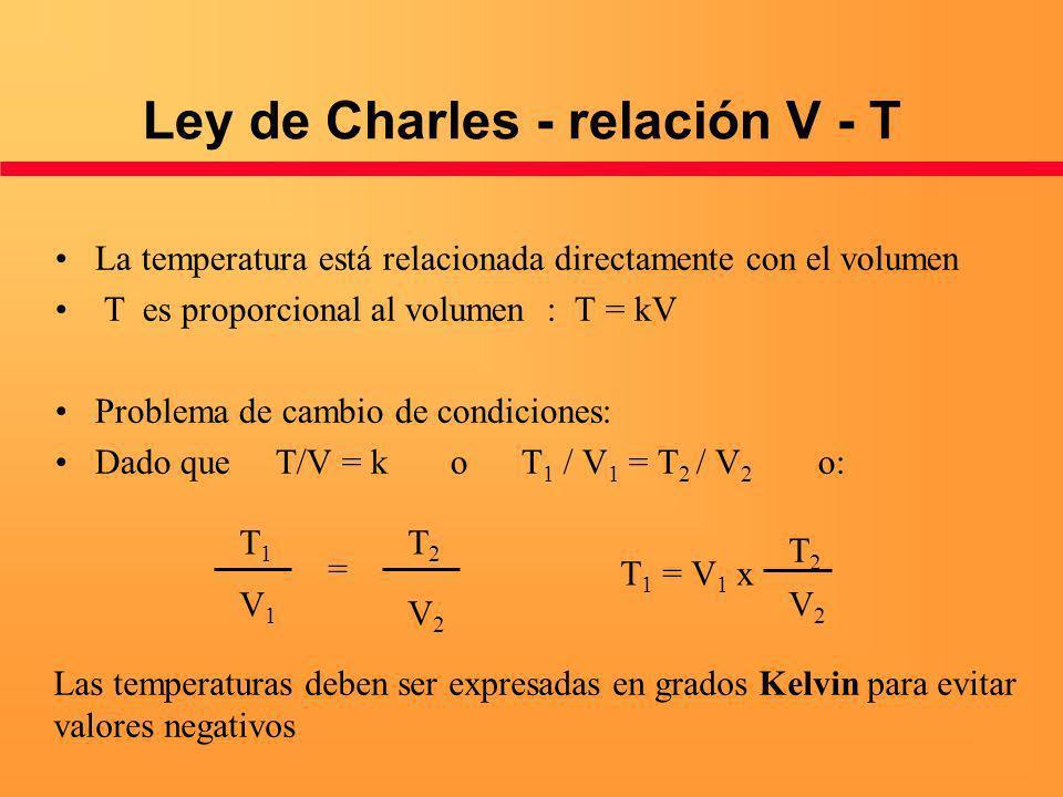Ley de Charles - relación V - T La temperatura está relacionada directamente con el volumen T es proporcional al volumen : T = kV Problema de cambio d