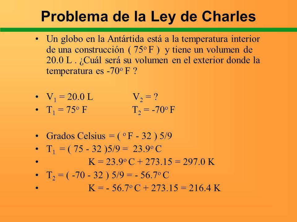 Problema de la Ley de Charles Un globo en la Antártida está a la temperatura interior de una construcción ( 75 o F ) y tiene un volumen de 20.0 L. ¿Cu