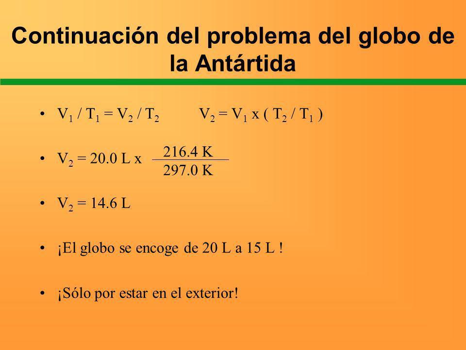 Continuación del problema del globo de la Antártida V 1 / T 1 = V 2 / T 2 V 2 = V 1 x ( T 2 / T 1 ) V 2 = 20.0 L x V 2 = 14.6 L ¡El globo se encoge de