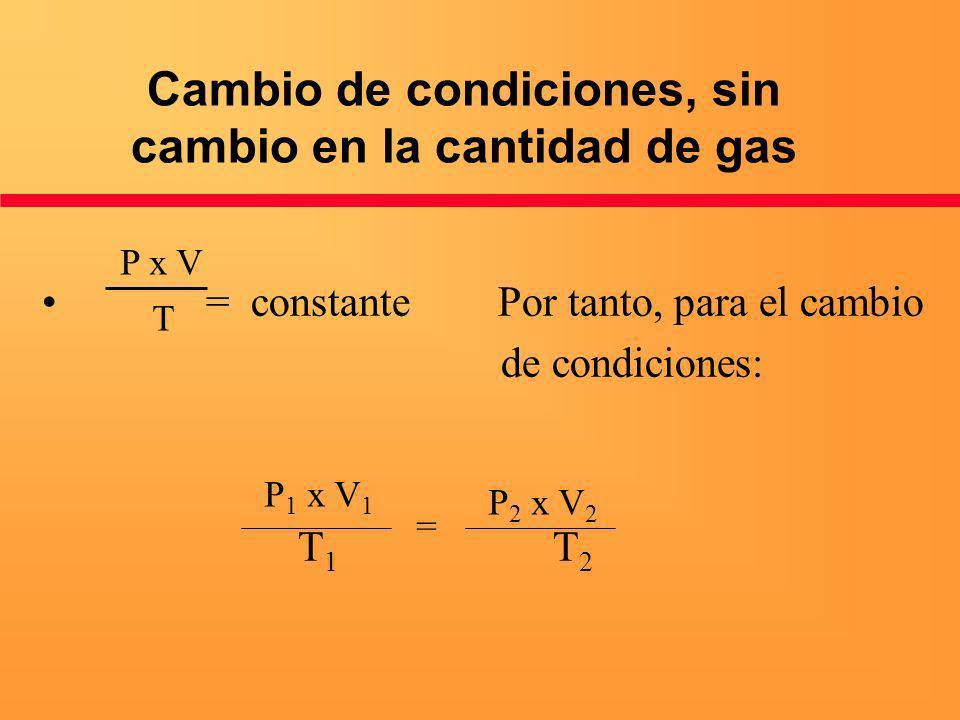 Cambio de condiciones, sin cambio en la cantidad de gas = constante Por tanto, para el cambio de condiciones: T 1 T 2 P x V T P 1 x V 1 = P 2 x V 2