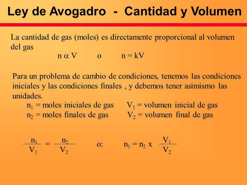Ley de Avogadro - Cantidad y Volumen La cantidad de gas (moles) es directamente proporcional al volumen del gas n V o n = kV Para un problema de cambi