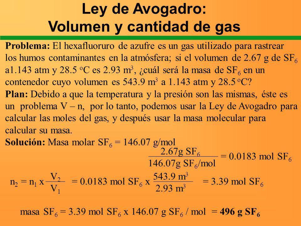 Ley de Avogadro: Volumen y cantidad de gas Problema: El hexafluoruro de azufre es un gas utilizado para rastrear los humos contaminantes en la atmósfe