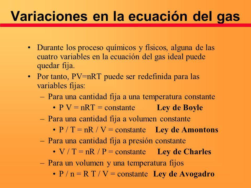Variaciones en la ecuación del gas Durante los proceso químicos y físicos, alguna de las cuatro variables en la ecuación del gas ideal puede quedar fi