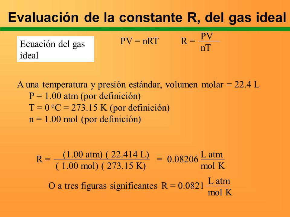 Ideal gas Equation PV = nRT R = PV nT A una temperatura y presión estándar, volumen molar = 22.4 L P = 1.00 atm (por definición) T = 0 o C = 273.15 K