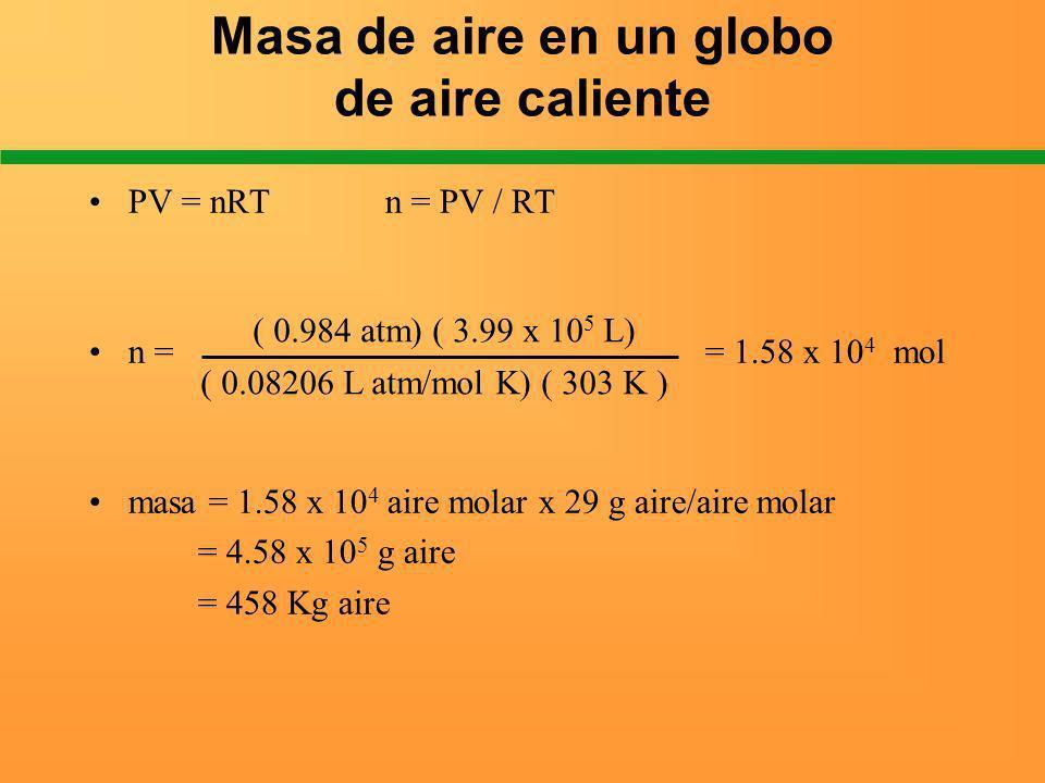 Masa de aire en un globo de aire caliente PV = nRT n = PV / RT n = = 1.58 x 10 4 mol masa = 1.58 x 10 4 aire molar x 29 g aire/aire molar = 4.58 x 10