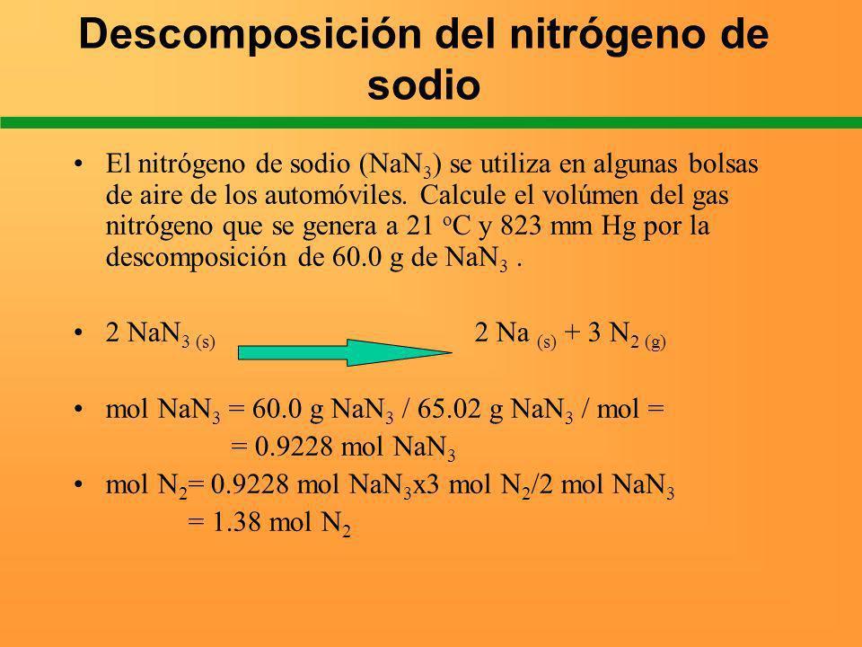 Descomposición del nitrógeno de sodio El nitrógeno de sodio (NaN 3 ) se utiliza en algunas bolsas de aire de los automóviles. Calcule el volúmen del g