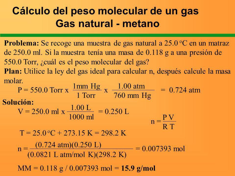 Cálculo del peso molecular de un gas Gas natural - metano Problema: Se recoge una muestra de gas natural a 25.0 o C en un matraz de 250.0 ml. Si la mu