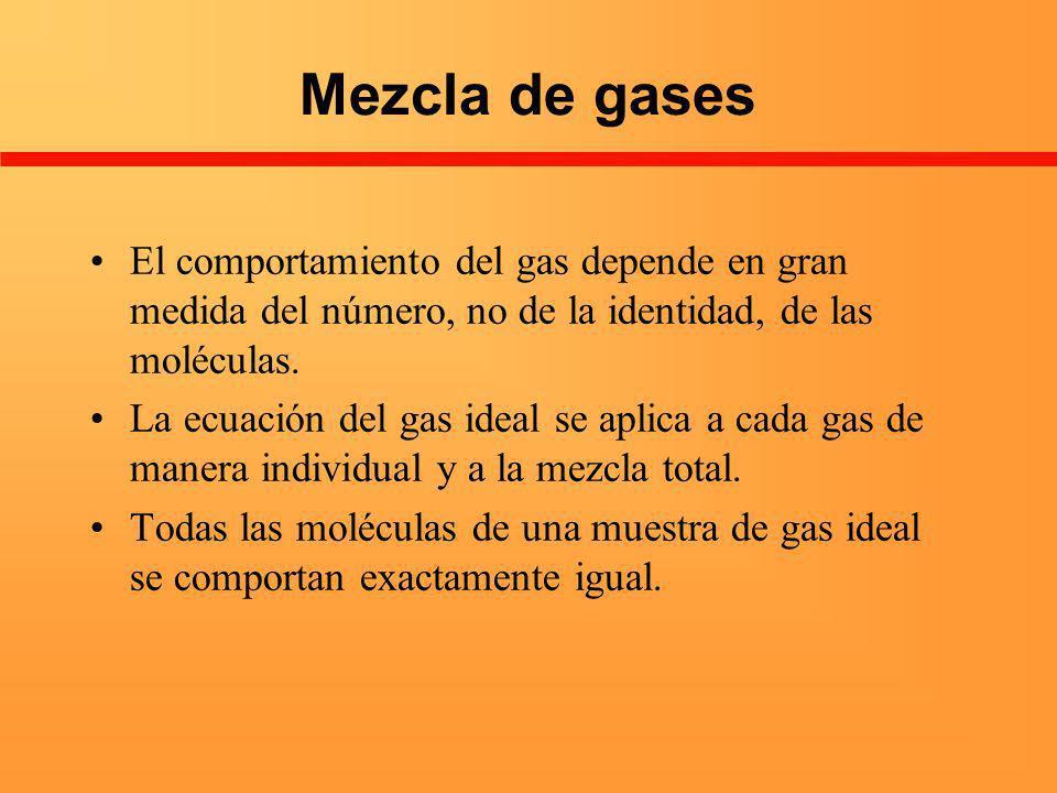 Mezcla de gases El comportamiento del gas depende en gran medida del número, no de la identidad, de las moléculas. La ecuación del gas ideal se aplica