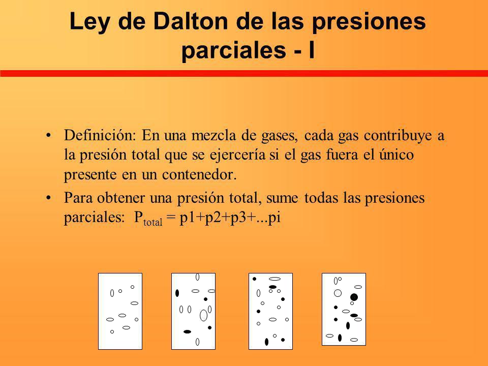 Ley de Dalton de las presiones parciales - I Definición: En una mezcla de gases, cada gas contribuye a la presión total que se ejercería si el gas fue