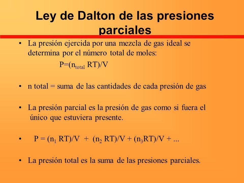 Ley de Dalton de las presiones parciales La presión ejercida por una mezcla de gas ideal se determina por el número total de moles: P=(n total RT)/V n