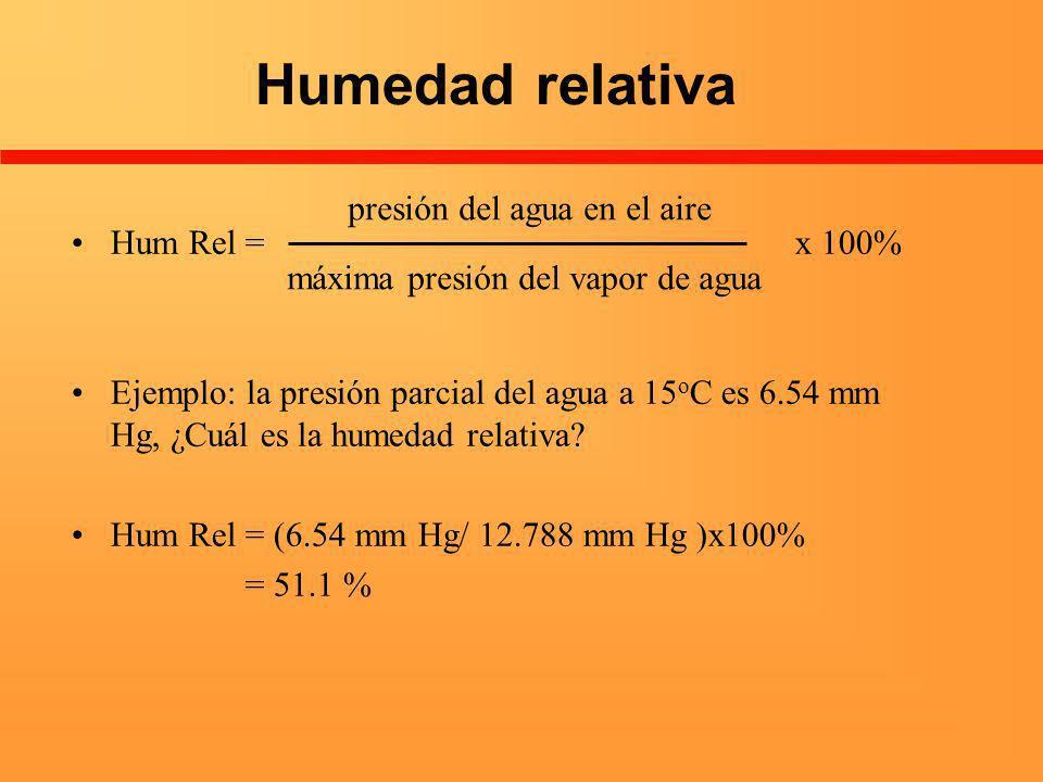 Humedad relativa Hum Rel = x 100% Ejemplo: la presión parcial del agua a 15 o C es 6.54 mm Hg, ¿Cuál es la humedad relativa? Hum Rel = (6.54 mm Hg/ 12