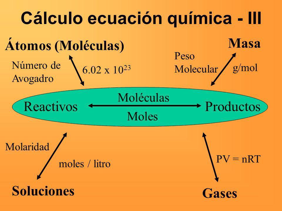 Cálculo ecuación química - III ReactivosProductos Moléculas Moles Masa Peso Molecular g/mol Átomos (Moléculas) Número de Avogadro 6.02 x 10 23 Solucio