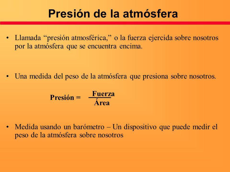 Presión de la atmósfera Llamada presión atmosférica, o la fuerza ejercida sobre nosotros por la atmósfera que se encuentra encima. Una medida del peso